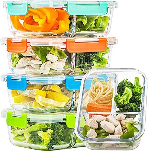 CREST 5-er Set Glas Frischhaltedosen, 3 Fächer, Meal Prep Boxen mit Deckel, Glasbehälter, BPA-frei, perfekt für Meal prep