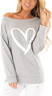 Blooming Jelly Womens Casual Sweatshirts Long Sleeve Tshirts Off The Shoulder Tops Heart Print Pullover