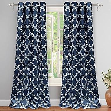 "DriftAway Julianna Geometric Pattern Thermal Insulated Blackout/Room Darkening Grommet Unlined Window Curtains, Set of Two Panels, each 52""x84"" (Navy)"