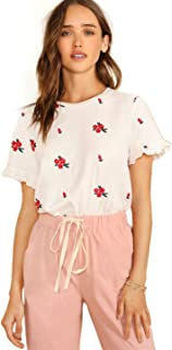SheIn Women's Floral Short Sleeve Ruffle Embroidery Summer Cotton Blouse Top