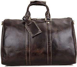 GY Travel Bag, Handbag, Men's Suede Leather Large-Capacity Leather Bag, Crazy Horse Leather Shoulder Diagonal Bag (Color : Brown)