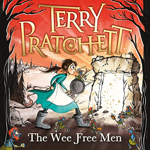 The Wee Free Men cover art, a girl in a blue dress approaches a stone doorway in a forest.