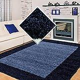 Carpet 1001 Shaggy, Pelo Largo Salón Alfombra Shaggy 2 de Color 3cm de Altura de Pelo de Color Azul Marino - 160x230 cm