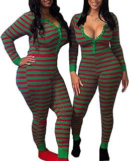 Women Christmas Strip Sexy Bodysuit Jumpsuit Deep V Neck One Piece Pajamas Romper Long Sleeve Bodycon Leotard Overalls