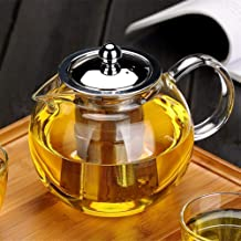 20.3oz Glass Teapot with Removable Infuser, Glass Teapot Stovetop safe, Clear Teapot with Strainer Lid for Loose Leaf Tea and Blooming Tea (600ML)