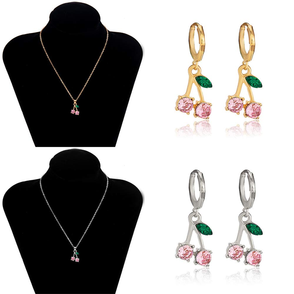 Aimimier Crystal Cherry Necklace Cute Fruit Drop Dangle Hoop Earrings Boho Prom Party Festival Jewelry Set for Women and Girls (Gold-pink)