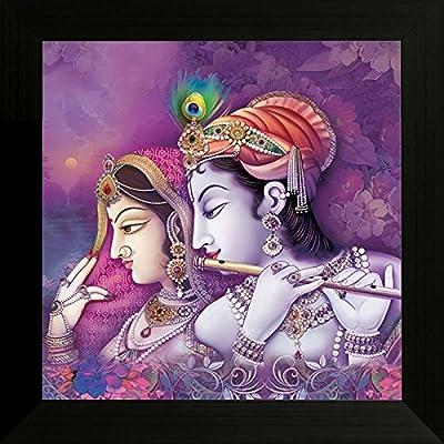 SAF Diwali Gift ' Radha Krishna ' UV Textured Framed Painting (34 cm x 2 cm x 34 cm) SANFW6134