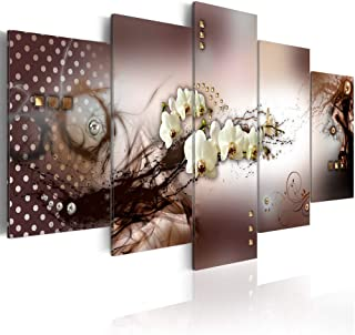 Large White Floral Canvas Art Painting Flower Print Wall Decor Picture 5 Panels Contemporary Brown Artwork Framed and Stretched
