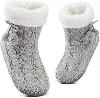 Womens Fuzzy Slipper Bootie Cozy Slipper Socks with Grippers for Home Bedroom Girls