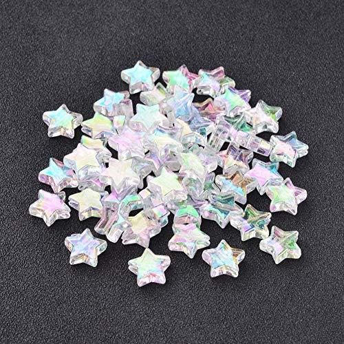 Craftdady - 200 perline trasparenti in acrilico a forma di stella trasparente, colore AB, per gioielli fai da te, gioielli, bracciali, collane, artigianato