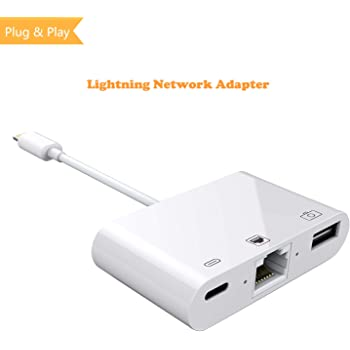 3 in 1 Lightning to RJ45 Ethernet LAN Wired Network Adapter, iPhone iPad to USB Camera Adapter Kit, HkittyXiong Lightning to USB OTG Adapter Cable (White)