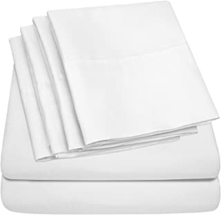 Full Size Bed Sheets - 6 Piece 1500 Thread Count Fine Brushed Microfiber Deep Pocket Full Sheet Set Bedding - 2 Extra Pillow Cases, Great Value, Full, White