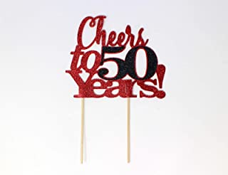 All About Details Cheers to 50 Years! Cake Topper,1pc, 50th Birthday, 50th Anniversary, Party Decor, Glitter Topper Multi