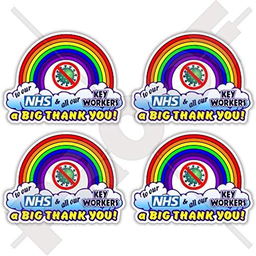 Regenboog een grote dank aan onze NHS en Key Workers x4 Stickers, Buiten raam, Auto Bumper, Mobiele Telefoon 55mm Mini Decals, COVID Coronavirus Quarantine Virus Zelf-Isolerende