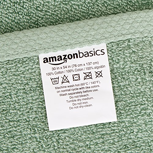 AmazonBasics Quick-Dry 3-Piece Towel Set, Seafoam Green