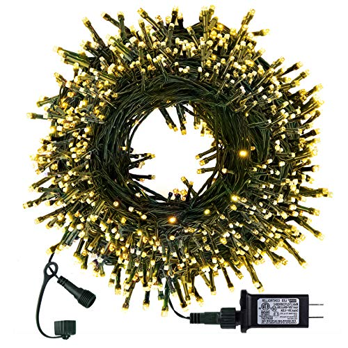 Christmas String Lights 98FT 300 LED Twinkle Fairy Lights String with 8 Light Modes for Christmas Trees Garland Wreath Wedding Indoor Outdoor Holiday Decorations with Warm White