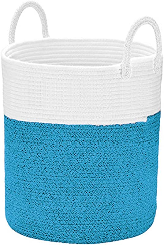 XXXL Large Cotton Rope Basket 20 15 7 15 7 In Woven Laundry Basket Blanket Storage Baskets For Towel Baby Toys Diaper Hamper Blue