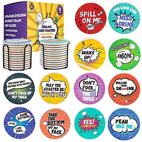 Funny Stone Coasters For Drinks with Holders | 12 Set Absorbent Cool Ceramic Coasters and Modern...