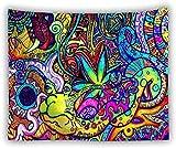Yhjdcc Tapices de alucinaciones, Enorme, Colgante de Pared, casa de Setas, Grado Hippie, Tapiz de Mandala, Manta de Las Maravillas, decoraci¨n del hogar Boho 150cm x 200 cm