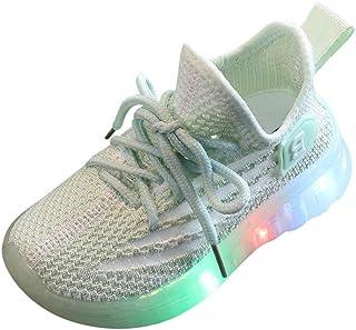 Kids Fashion Sneaker Slip-On Athletic Running Shoe LED Light Up Mesh Knit Boys Girls Toddler Sports Shoes