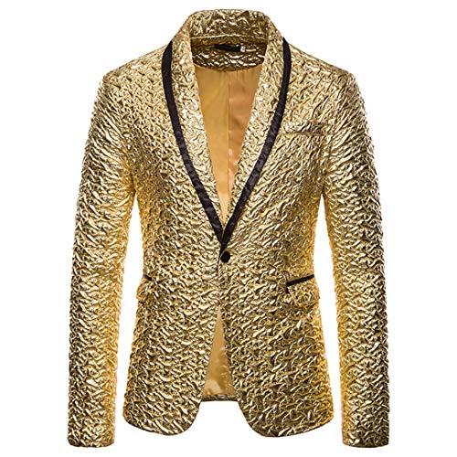Herren Glänzende Jacke Blazer Smoking für Party Hochzeit Bankett Prom Blazer 2 Buttons Anzug...