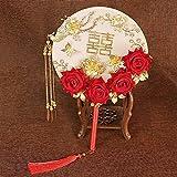 Abanico nupcial Abanico de seda redondo estilo chino Xiuhe ropa novia abanico circular estilo chino accesorios de foto abanico de boda abanico de doble cara abanico nupcial (color: MT G000014)