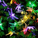 Joomer Dragonfly Solar String Lights, 20ft 30 LED Waterproof Fairy Decoration Lighting for Indoor/Outdoor Patio, Lawn, Garden, Party, Wedding, Holiday, Thanksgiving, Christmas (Multi Color)