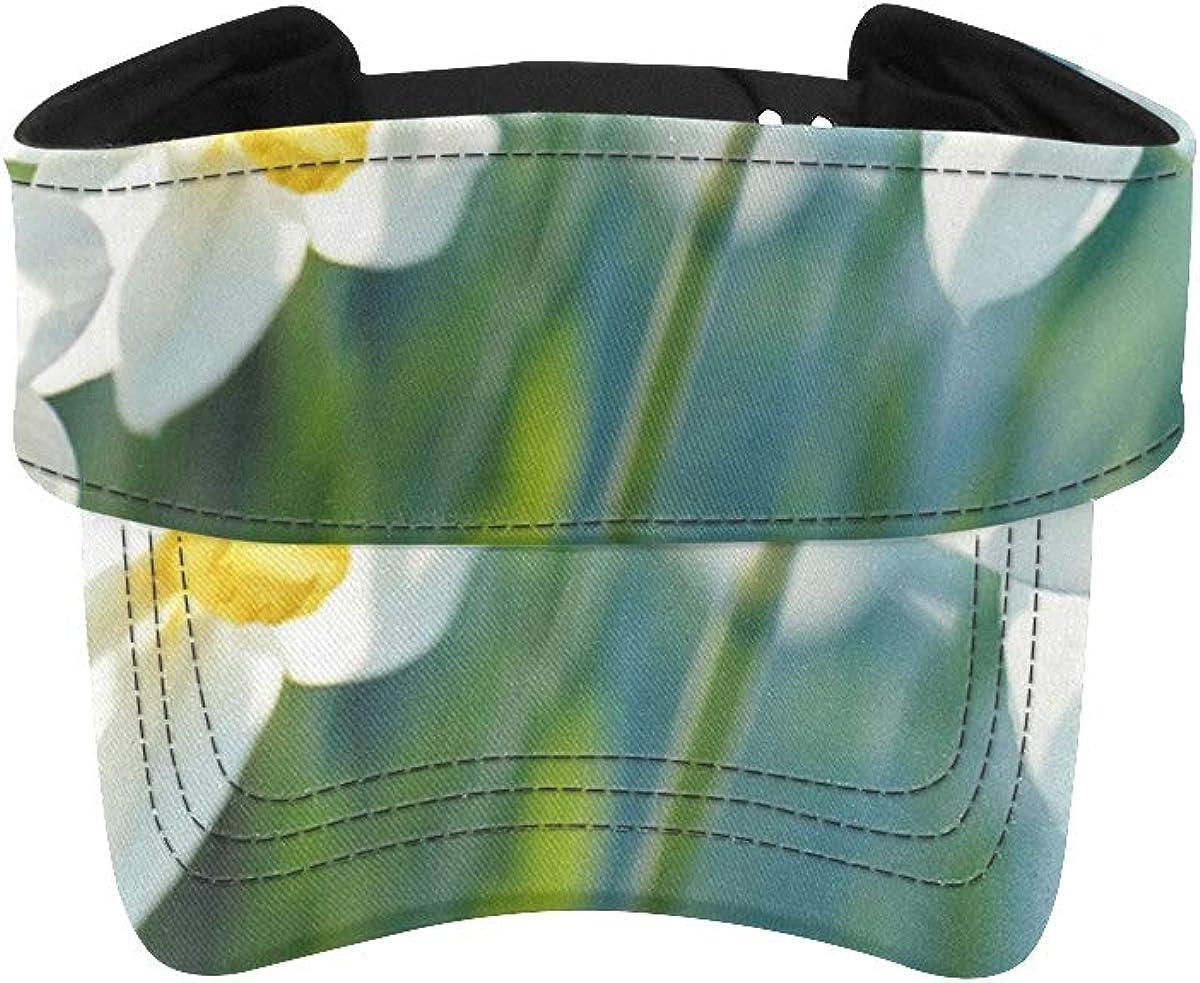 Sun Visor Shield Hat Beautiful White Daffodil Flower Sports Sun Visors for Women Summer Visor Cap Adjustable Athletic Sportswear Runing Outdoor Hat Cap for Men Women