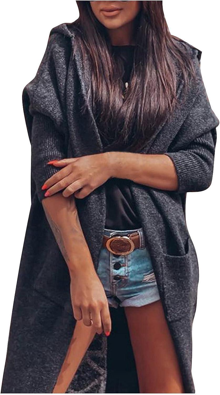 JPLZi Women's Long Sleeve Letter Print Open Front Draped Loose Knit Lightweight Cardigan Sweater Coat Outwear with Pockets