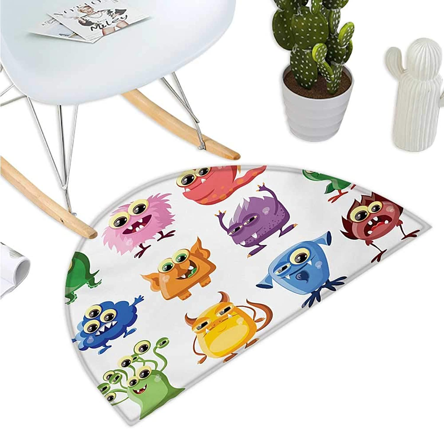Funny Semicircular Cushion Animated Bacteria Aliens Theme Germ Whimsical Cartoon Monsters Humor Faces Graphic Entry Door Mat H 35.4  xD 53.1  Multicolor