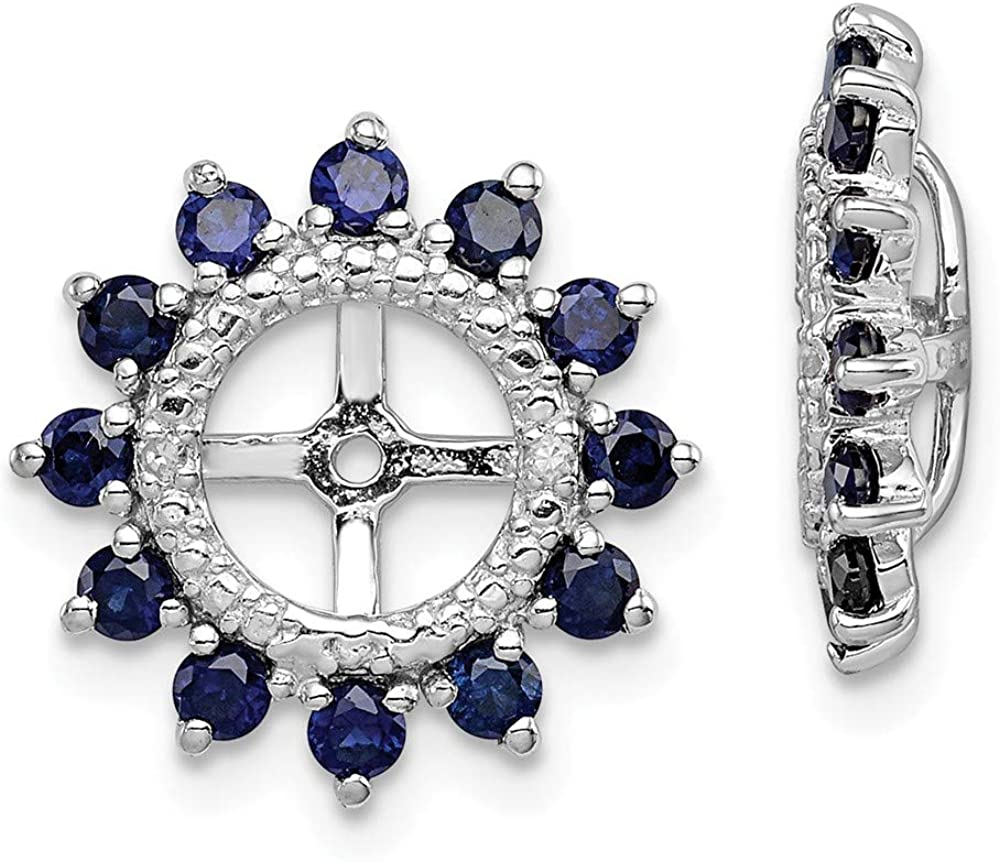 Daily bargain sale Special price for a limited time 925 Sterling Silver Diamond Created Sapphire Bir Earrings Jacket