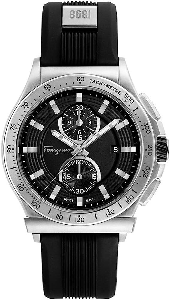 Salvatore ferragamo, orologio, cronografo per uomo,cassa in acciaio,quadrante guilloché,cinturino in caucciu` FFJ030017