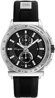 Men's Ferragamo 1898 Sport Stainless Steel Swiss-Quartz Watch with Rubber Strap, Black, 22 (Model: FFJ030017)