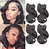 4Bundles Brazilian Body Wave Virgin Hair Extension Human Hair Bundles 8'Short Human Hair Virgin Brazilian Hair Weaves 50G/Pcs Human Hair Extensions Natural color (8''x4 BODY, Natural)