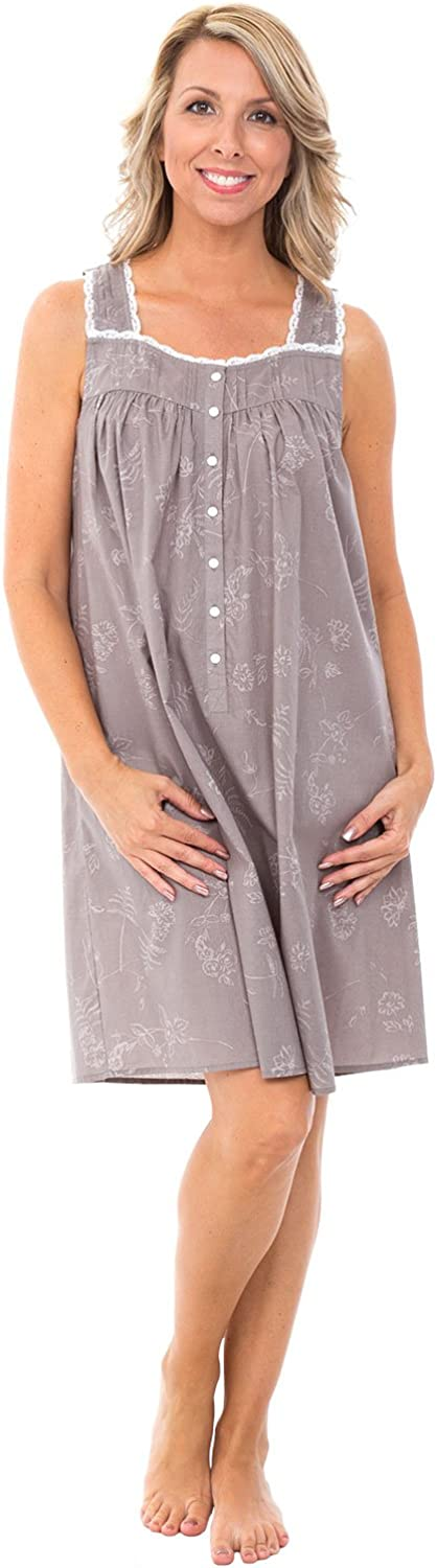 Alexander Del Rossa Womens 100% Cotton Lawn Nightgown, Sleeveless Button Up Sleep Dress