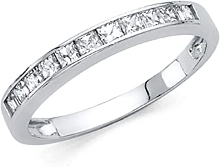 Universal Jewels 2mm Solid 14k White OR Yellow Gold Princess Cut Channel Invisible Set Wedding Band Ring (0.75 cttw.)