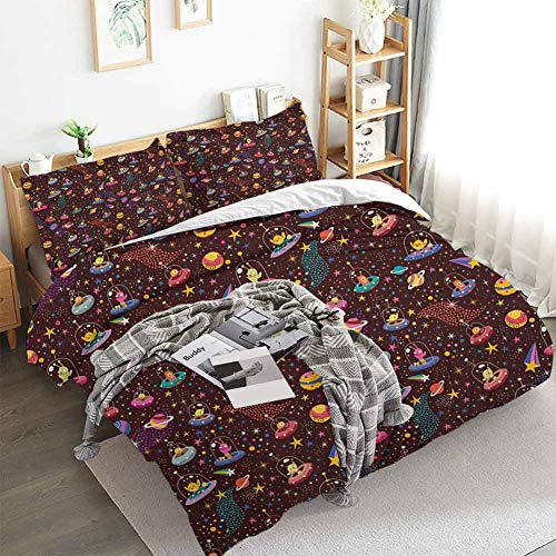 Aishare Store Space Duvet Cover Set,Cosmos Design with Shooting Stars and Colorful Polka Dots Alien Spacecrafts Cartoon,Decorative 3 Piece Bedding Set with 2 Pillow Shams,Twin(68'x90') Multicolor