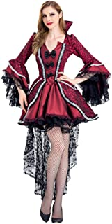 Dainzuy Women's Steampunk Halloween Cosplay Vampire Witch Vintage Gothic Dress Victorian Dovetail Dress with High Low Skirt