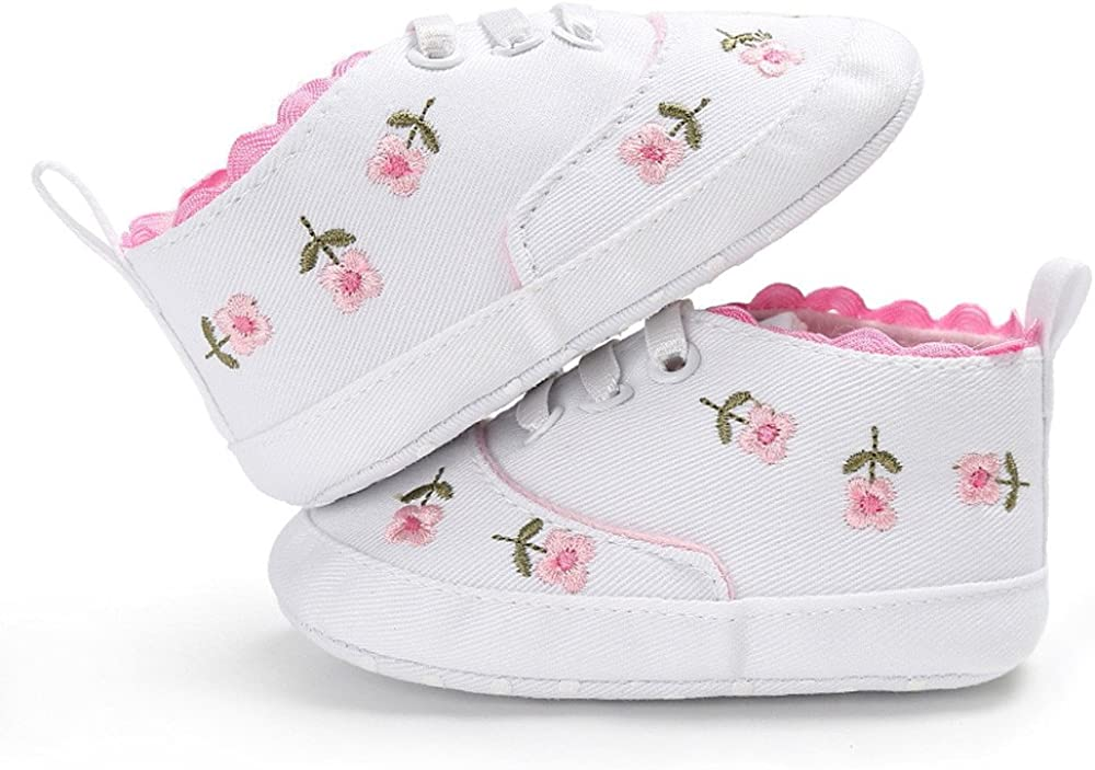 Girls Shoes Deloito Newborn Infant Baby Girls Floral Crib Soft Sole Anti-Slip Canvas Infant Sneakers Age 0-18 Months Kids