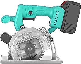 TTLIFE Sierra circular eléctrica, sierra circular inalámbrica de 4 pulgadas, cortadora rebanadora recargable, ideal para madera, metal blando, azulejos, cortes de plástico