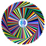 Lya Vinyl 80 Adhesive Vinyl, 40 Matte & 40 Glossy Color Permanent Vinyl Sheets for Cricut and Silhouette, Party Decoration, Sticker, Craft Cutter, Car Decal