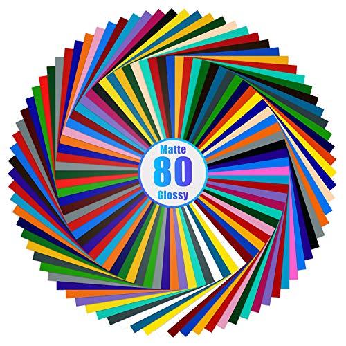 Lya Vinyl 80 Adhesive Vinyl, 40 Matte & 40 Glossy Color Permanent Vinyl Sheets...
