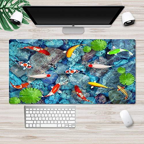 ROZEIP Uitgebreide Gaming Mouse Pad Kleine goudvis lotusblad in zwembad 39,3×19,7 inch XXXL Muismat met Anti Fray…