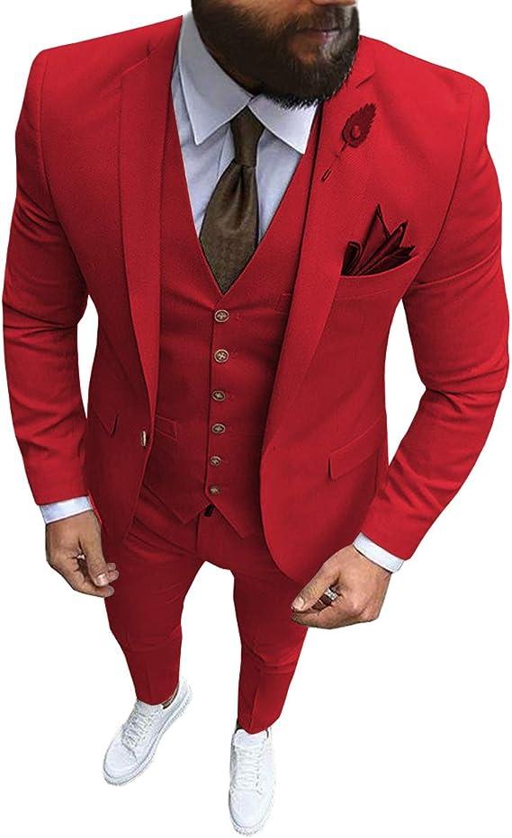 Combinaison pour Homme 3 pi/èces Slim Fit Double Boutonnage Gilet Tuxedo Groomsmen pour Mariage Blazer + Gilet + Pantalon