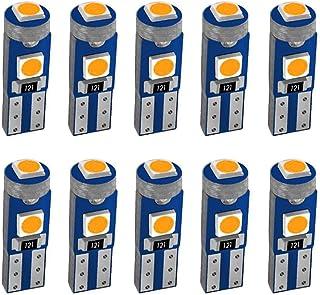 JAVR 10x T5 74 73 2723 2721 W3W W1.2W Bombilla LED de cuña Amarillo, 3LED SMD3030 Chip 600LM para panel de instrumentos de...