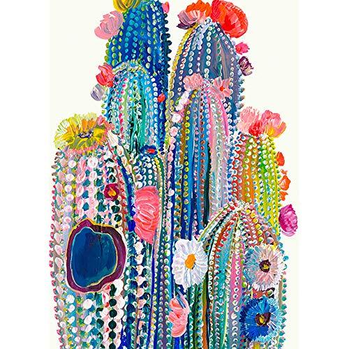 I-WILL Pintar por Numeros Adultos Niños Principiantes para DIY Pintura por Números Pint con 3 Pinceles y Pinturas Acrílica Decoraciones Kit para el Hogar 40 X 50cm - Cactus de Colores