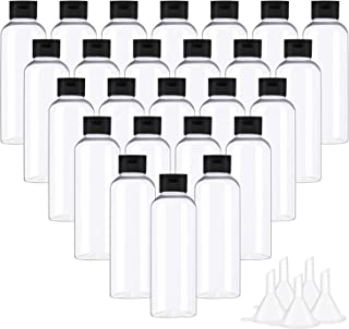 Cridoz 25Pcs 2 oz Clear Plastic Empty Bottles Travel Size Bottles Small Containers with Flip Cap for Liquids Toiletries Sh...