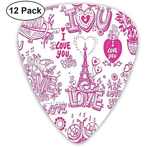 Gitaar plukt 12-Pack, Ik hou van u Valentines Ontwerp knuffelen zingen hart vormen koffie uitdrukken Affectie