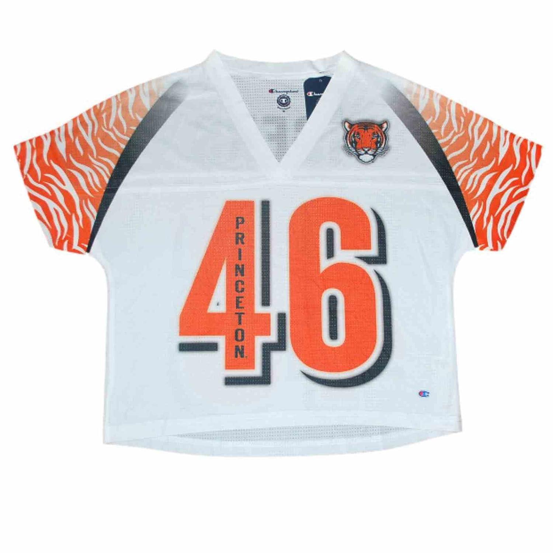 プリンストンタイガースチャンピオン女性ホワイトオレンジ# 46?Jersey Crop Top Tシャツ( M )