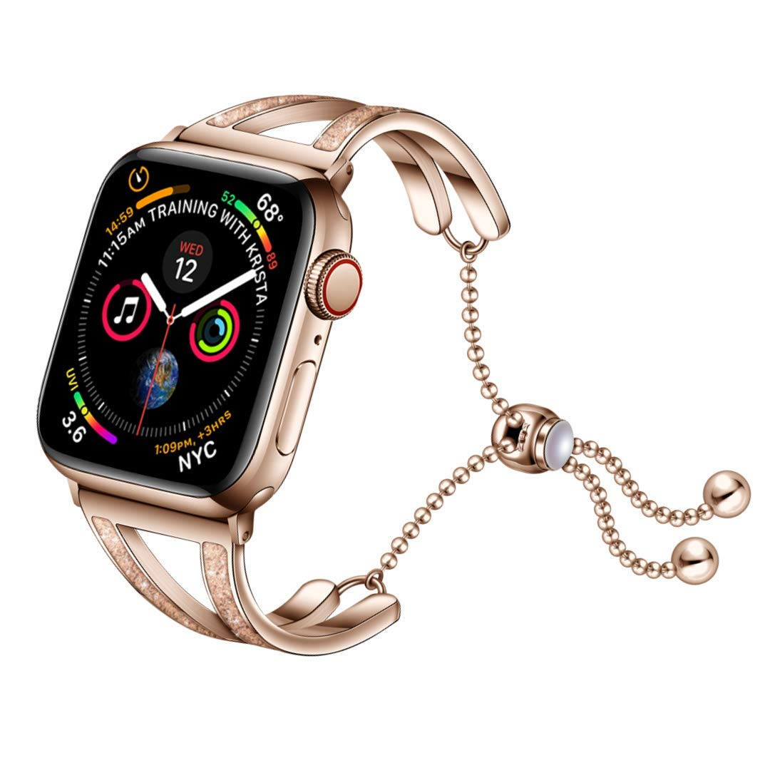Mifa Compatible W Apple Watch Band 40mm 38mm Series 5 4 3 Sparkling Jewelry Cuff Bracelet Chain Metal Band Women Woman Fancy Dressy Luxury Cute Silver Feminine Stainless Steel Bangle Bands Rose Gold